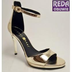 Sandały na szpilce złote  Nessi  JC022