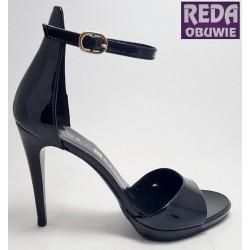 Sandały na szpilce czarne  Nessi  JC022