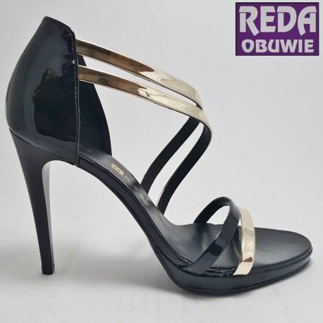 Sandały na szpilce czarno-złote  Nessi  JC026